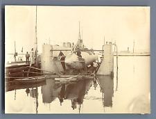 """Tunisie, Sidi Abdallah, Sous-marin """"Farfadet"""" sur le dock, février 1904  Vintage"""