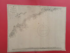 """carte ancienne France South Coast """"Rade d'Agay to San Remo""""1845  new edit 1970"""
