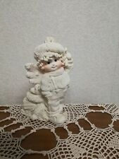 Unusual Dreamsicles Cherub in Winter Scene, Knit Cap, Sweater, Dog/Presents.