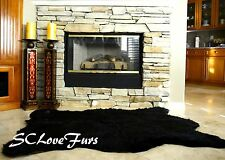 "58"" x 84"" Californian Black Bear Faux Fur Rug Bearskin Shaggy Fur Carpet"