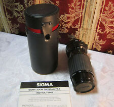 SIGMA ZOOM-K II 1:4.5 F=70-210MM CAMERA LENS CASE INSTRUCTIONS FD MOUNT      T*