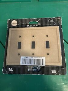 SOMERSET 3 Gang Triple Toggle Light Switch Cover Wall Plate Natural Stone SIENNA