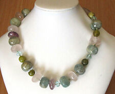 clasp, 175 gr., length: 45 cm Vintage gemstone bead necklace with silver