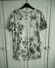 NEW White and Black flower print top Small 8-10