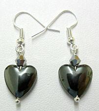 Dangle earrings - 12mm. Hematite heart + glass bead