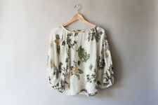 Anthropologie Lil Cream Floral Bird 100% Silk First Hints Blouse Top Size 4