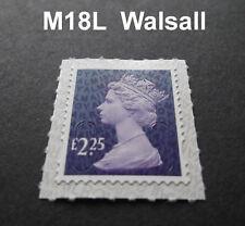 2018 £ 2.25 Machin M18L CODICE Walsall RISTAMPA unico timbro da foglio Contatore
