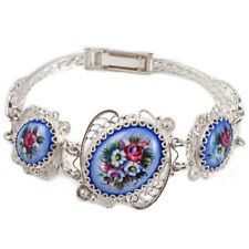 """Bracelet Finift Hand Painted Russia Blue Pink Flowers 8"""" Copper Silver Plated"""