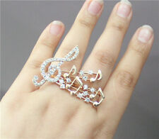 Nice New Fashion Gold Plated Rhinestone Crystal Musical Notes Two Finger Rings