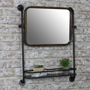 Industrial Mirror with shelf retro rustic bathroom shelf shelving home decor
