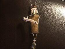 Vintage Carved Artisan Pin/Pendant Silver, 14k Gold, Pearl, Garnet unique