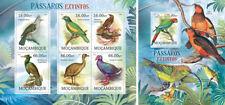 Extinct Aves Loros Papageien Vögel Fauna Animales Mozambique MNH Juego de Sellos