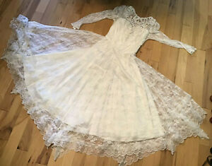 Authentic Vintage Jessica McClintock Lace V Back Bridal Wedding Dress