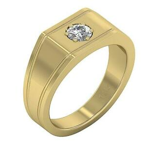 SI1 G 0.30 Ct Men's Engagement Real Diamond Ring 14K Solid Yellow Gold 8.95 mm