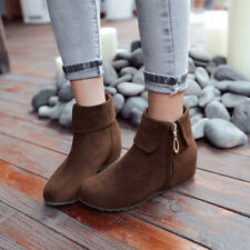 Women Casual Low Heel Ankle Boots Round Toe Suede Roma New Side Zip Shoes Uk