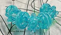 ROA Lampwork 7 Filigree Aqua Bump & Swirl  Handmade USA Art Glass Beads SRA