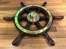 Vintage Original Mahogany Brass Ships Wheel Helm Maritime Marine Nautical Boat