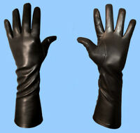 NEW MENS size 9 or Large EXTRA LONG BLACK SILK LINED LAMBSKIN LEATHER GLOVES
