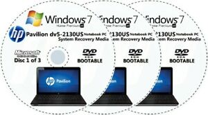 HP Pavilion dv5-2130US Factory Recovery Media 3-Discs Set / Windows 7 Home 64bit