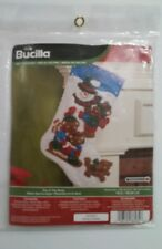 "Bucilla 86484 ""Fun In The Snow"" Christmas Felt Stocking Kit Snowman & Bears 16"""