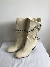 Vintage MISS SIXTY cream leather boots, size UK7/EU40, New