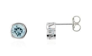 14K Aquamarine Bezel Set Stud Earrings 5mm 14k White Yellow Rose Gold .75ct