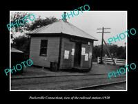 OLD LARGE HISTORIC PHOTO OF PACKERVILLE CONNECTICUT THE RAILROAD STATION c1920