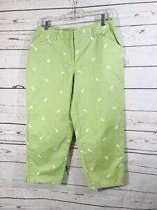 Villager Liz Claiborne Womens Capris Pants Size 8 Green Embroidered Pineapples