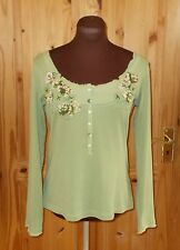PER UNA M&S apple green long sleeve tunic t-shirt top floral applique 10 38