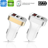 Dual USB Car Charger 2.1A Adapter LED Display Fast Charging For iPhone Samsung
