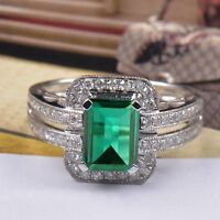 14KT Solid White Gold 2.00CT Natural Green Emerald EGL Certified Diamond Ring