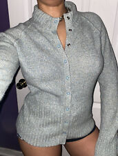 Moth Anthropologie Snap Button Green Knit Wool Cashmere Sweater Shirt Top L