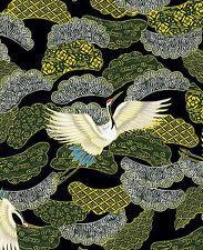 Soaring Cranes:  Black/Gold Metallic Asian Japanese Fabric - By the Half Yd.