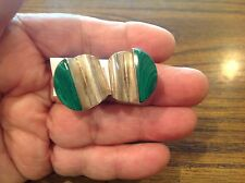 Vtg Taxco Mexico Sterling Silver Malachite Thick Modernist Pierce Post Earrings