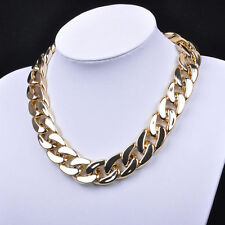 USA Gold Color Chunky Statement Link Chain Women Pendant Necklace Bib Choker