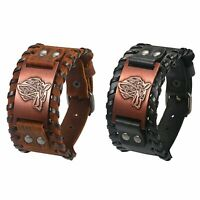 Men Retro Punk Wide Leather Bracelet Wolf Head Celtic Pagan Adjustable Cuff Belt
