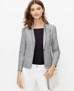 Ann Taylor - Woman's Size 14 Silver Gray Linen Blend Jacket $159.00 NWT (H)