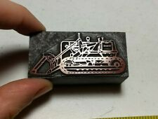 Vintage Letterpress Printing Block Bulldozer Construction Machinery ALL METAL