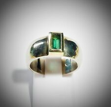 Wedding Ring Vintage Silver And Crystal Colour Green Emerald