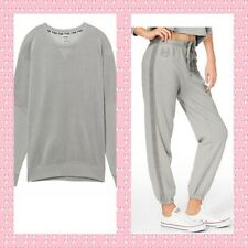 Victorias Secret PINK Velour Campus Crew Sweatshirt Pant Set Shark Gray NEW S
