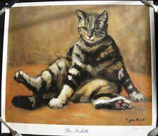 Payen-Binet- Ancienne affiche d'art signé - La Toilette -Chat -56 cm x 49,5 cm.