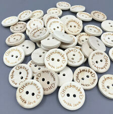 """50pcs Beige Wooden Buttons Sewing """"handmade""""""""with love"""" Scrapbooking Crafts 20mm"""