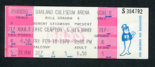 1978 Eric Clapton Unused Full Concert Ticket Oakland Coliseum Slowhand Layla