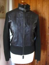 Ladies NEXT brown leather JACKET COAT size UK 12 10 biker retro knitted ribbed