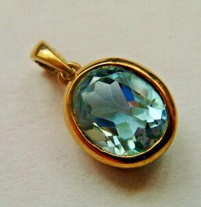 9ct Gold Aquamarine Drop Pendant Nice Large Stone Size Fully Hallmarked.