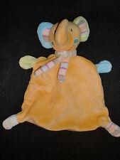 doudou plat éléphant jaune orange BABYSUN BABY CLUB