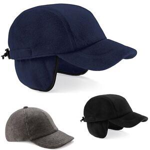 BLACK or NAVY DARK BLUE Suprafleece® Everest Baseball Cap Hat with Ear Flaps