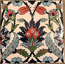 "Iznik Red Tulip & Blue Carnation Pattern 8""x8"" (20cmx20cm) Turkish Ceramic Tile"