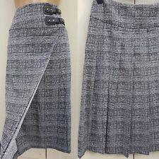 M&S Collection Black White Check Wrap Midi Buckle Smart Pleated Kilt Skirt 14 UK