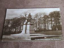 Real photo postcard - Carnegie Statue Pittencrieff Park - Dunfermline
